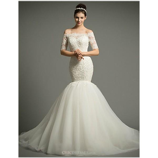 Fit & Flare Court Train Wedding Dress -Off-the-shoulder Tulle Wedding Dresses
