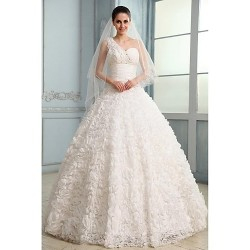 Ball Gown Wedding Dress - White Court Train One Shoulder Chiffon