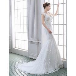 Trumpet Mermaid Wedding Dress White Sweep Brush Train V Neck Lace