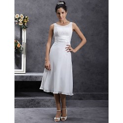 Sheath/Column Plus Sizes Wedding Dress - Ivory Tea-length Scoop Chiffon