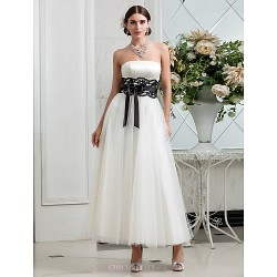 A Line Plus Sizes Wedding Dress Ivory Ankle Length Strapless Satin Tulle