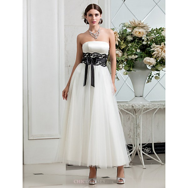 A-line Plus Sizes Wedding Dress - Ivory Ankle-length Strapless Satin/Tulle Wedding Dresses
