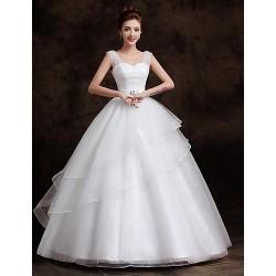 Ball Gown Floor Length Wedding Dress Straps Tulle