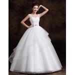 Ball Gown Floor-length Wedding Dress -Straps Tulle Wedding Dresses