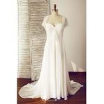 A-line Wedding Dress - Ivory Court Train Queen Anne Chiffon Wedding Dresses