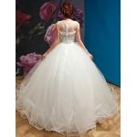 Ball Gown Wedding Dress - White Floor-length Square Organza Wedding Dresses