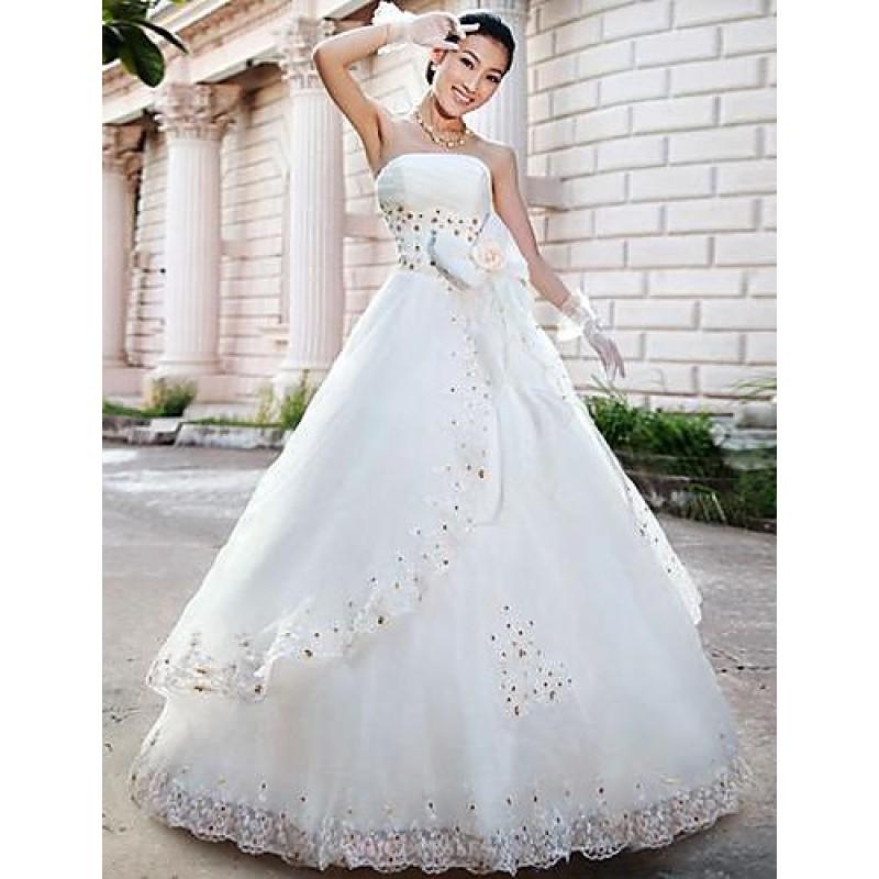 A-line Floor-length Wedding Dress -Strapless Satin,Cheap