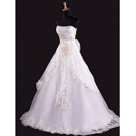 A-line Floor-length Wedding Dress -Strapless Satin Wedding Dresses