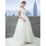 A-line Wedding Dress - Ivory Chapel Train Off-the-shoulder Lace/Tulle Wedding Dresses