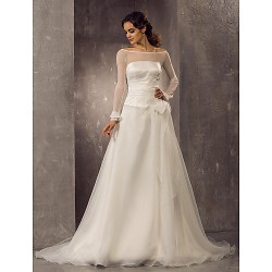 A Line Princess Plus Sizes Wedding Dress Ivory Court Train Off The Shoulder Organza Tulle