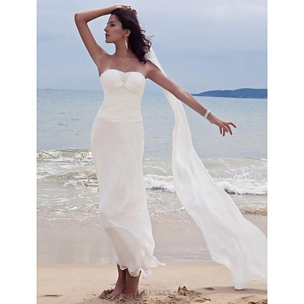 Sheath/Column Plus Sizes Wedding Dress - White Ankle-length Sweetheart Chiffon Wedding Dresses
