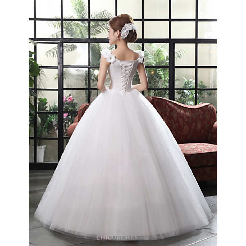 White Floor-length Straps Lace