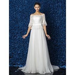 A Line Princess Plus Sizes Wedding Dress Ivory Court Train Bateau Tulle Lace