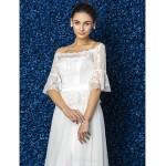 A-line/Princess Plus Sizes Wedding Dress - Ivory Court Train Bateau Tulle/Lace Wedding Dresses