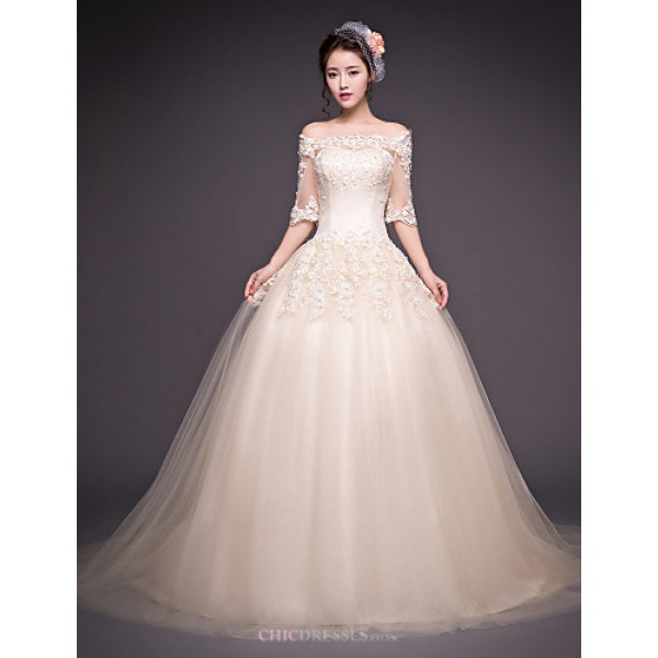 Ball Gown Wedding Dress - Champagne Court Train Off-the-shoulder Tulle Wedding Dresses