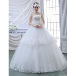 Ball Gown Wedding Dress - White Floor-length Strapless Lace Wedding Dresses