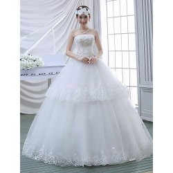 Ball Gown Wedding Dress White Floor Length Strapless Lace