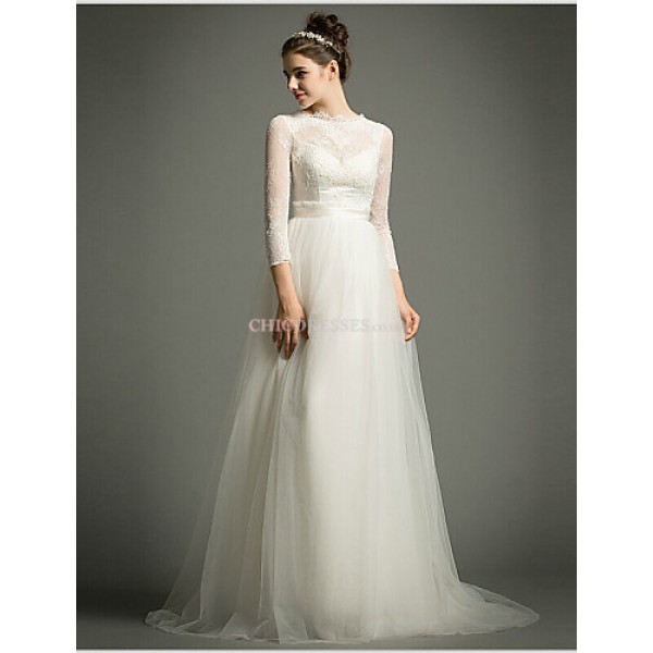 A-line Sweep/Brush Train Wedding Dress -High Neck Tulle Wedding Dresses
