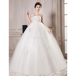 Ball Gown Floor-length Wedding Dress -One Shoulder Tulle