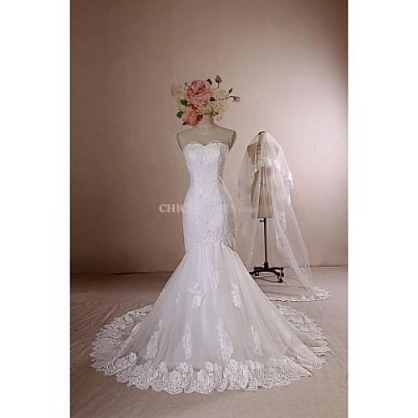 Trumpet/Mermaid Wedding Dress - Ivory Chapel Train Jewel Lace / Satin / Tulle Wedding Dresses