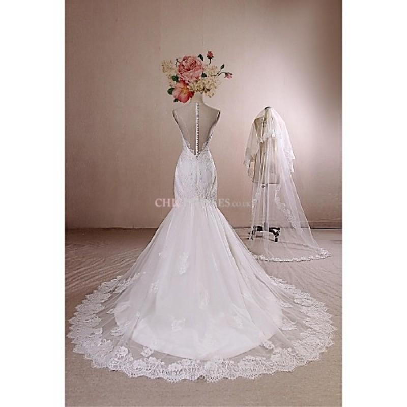 Trumpet mermaid wedding dress ivory chapel train jewel for Ivory trumpet wedding dress