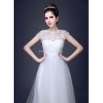 Ball Gown Scoop Court Train Tulle And Lace Wedding Dress Wedding Dresses