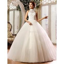 Ball Gown Floor Length Wedding Dress High Neck Lace