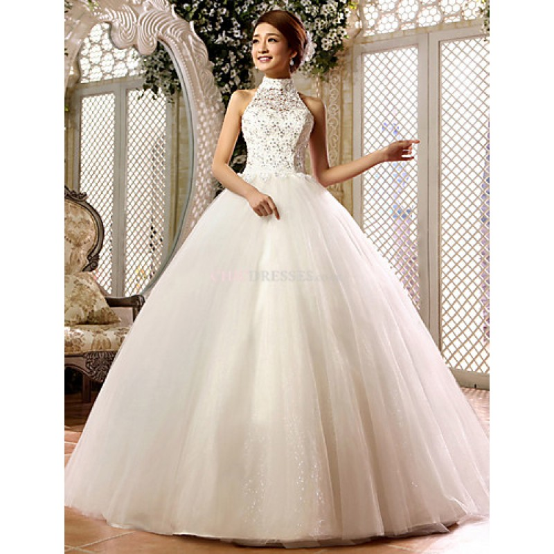 Ball Gown Wedding Dresses Uk: Ball Gown Floor-length Wedding Dress -High Neck Lace,Cheap