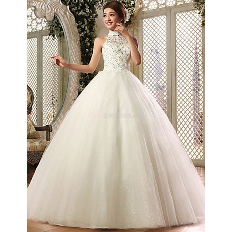 Ball Gown Floor-length Wedding Dress -High Neck Lace,Cheap