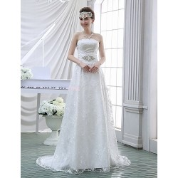 Sheath/Column Wedding Dress - White Sweep/Brush Train Strapless Lace