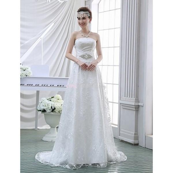 Sheath/Column Wedding Dress - White Sweep/Brush Train Strapless Lace Wedding Dresses