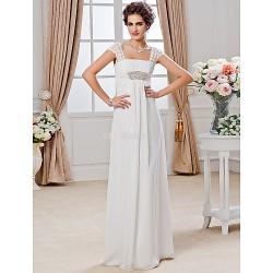 Sheath/Column Plus Sizes Wedding Dress - Ivory Floor-length Square Chiffon