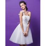 Ball Gown Wedding Dress - Ivory Knee-length One Shoulder Tulle Wedding Dresses