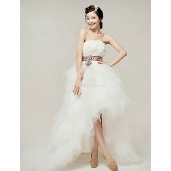 A-line Wedding Dress - White Ankle-length Strapless Organza