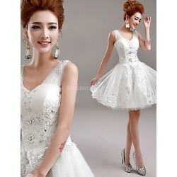 A Line Short Mini Wedding Dress V Neck Tulle