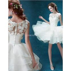 Ball Gown Short/Mini Wedding Dress - Jewel Organza