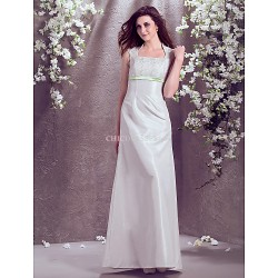 A Line Princess Plus Sizes Wedding Dress Ivory Floor Length Square Taffeta