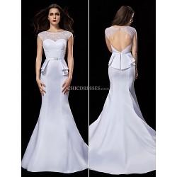 Trumpet/Mermaid Wedding Dress - White Court Train Jewel Satin