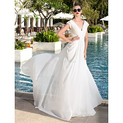 Sheath Column Plus Sizes Wedding Dress Ivory Sweep Brush Train V Neck Georgette