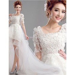 A Line Asymmetrical Wedding Dress Scoop Lace