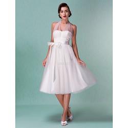 A-line/Princess Plus Sizes Wedding Dress - Ivory Knee-length Halter Satin/Tulle