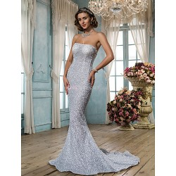 Trumpet/Mermaid Wedding Dress - Silver (color may vary by monitor) Sweep/Brush Train Strapless Tulle/Sequined