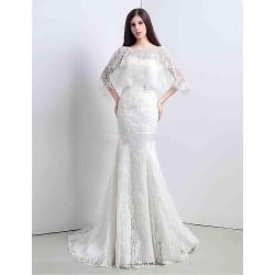 Trumpet/Mermaid Sweep/Brush Train Wedding Dress -Sweetheart Lace