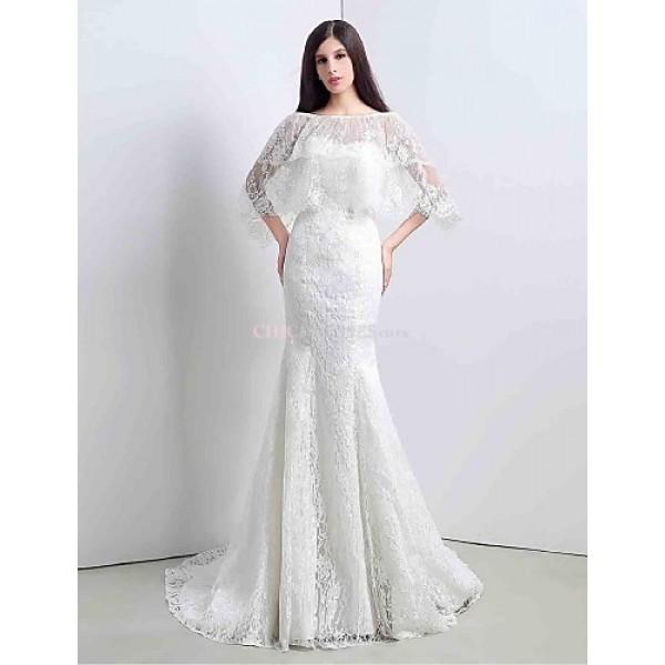 Trumpet/Mermaid Sweep/Brush Train Wedding Dress -Sweetheart Lace Wedding Dresses