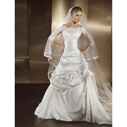 A-line Wedding Dress Court Train/Floor-length Bateau Satin Chiffon