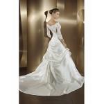 A-line Wedding Dress Court Train/Floor-length Bateau Satin Chiffon Wedding Dresses