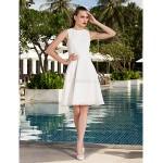 A-line/Princess Plus Sizes Wedding Dress - Ivory Knee-length Scoop Chiffon Wedding Dresses