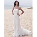 Sheath/Column Plus Sizes Wedding Dress - Ivory Sweep/Brush Train Sweetheart Satin/Tulle Wedding Dresses