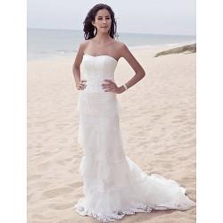 Sheath/Column Plus Sizes Wedding Dress - Ivory Sweep/Brush Train Sweetheart Satin/Tulle