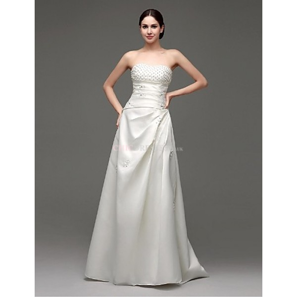 2015 Formal Evening Dress Sweetheart Floor-length Satin Dress Wedding Dresses